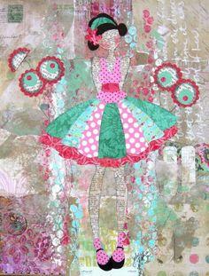 A Bit Shy—adorable—handmade mixed-media art❣ julienuttingdesigns • Etsy