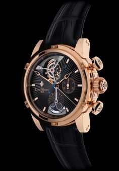 ASTRALIS with rose gold 5N case. ASTRALIS features an exclusive alliance of complications: an astral Tourbillon, a split-second column-wheel Chronograph, as well as a 24-hour Planetarium displaying four meteorites boasting unique rarity. For more information, please visit: http://www.louismoinet.com/collection-astralis-c2.php
