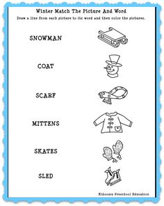 Winter Match The Words To Pictures! Match The Words To Pictures Winter Worksheet and FREE Winter Song for Kids!