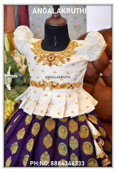 Girls Frock Design, Kids Frocks Design, Baby Frocks Designs, Baby Dress Design, Kids Gown Design, Frocks For Girls, Dresses Kids Girl, Kids Outfits, Baby Girl Lehenga
