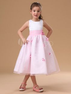 Pink And White Satin Organza Flower Girl Dress