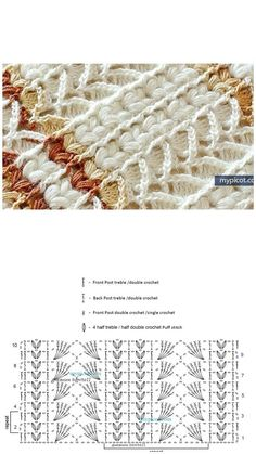 Crochet Stitches Chart, Crochet Motifs, Crochet Square Patterns, Crochet Diagram, Crochet Blanket Patterns, Knitting Stitches, Stitch Patterns, Knitting Patterns, Crochet Cable