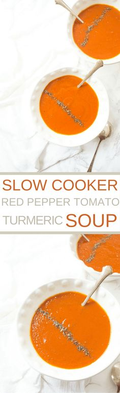 This Slow Cooker Roasted Red Pepper Tomato + Turmeric Soup is packed full of flavor, antioxidants, and anti-inflammatory properties and is delicious on a brisk evening.