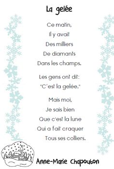 Poems on the winter French Poems, French Quotes, Education And Literacy, Music Education, French Teacher, Teaching French, Kindergarten Language Arts, Core French, French Classroom