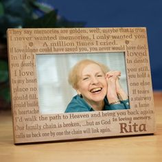 "In Loving Memory Personalized Memorial Wood Picture Frames. Our Personalized Sympathy Picture Frame makes a beautiful Memorial Keepsake to honor your deceased family member or close friend. Our Personalized In Loving Memory Memorial Picture Frame measures 8¾"" x 6¾"" and holds a 3½"" x 5"" or 4"" x 6"" photo. Easel back allows for desk display. Includes FREE Personalization! Personalize your In Loving Memory Memorial Picture Frame with any name."