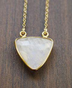 Vanilla Moonstone Triangle Necklace - 14k Gold