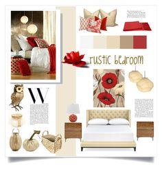 rustic bedroom by levai-magdolna on Polyvore featuring interior, interiors, interior design, home, home decor, interior decorating, Williams-Sonoma, Safavieh, a&R and Hawkwood