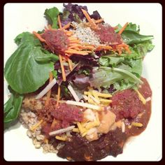 Gigantic #vegan build-a-bowl lunch. A little greens, some hemp seeds, tofu, beans, quinoa. Power proteins!
