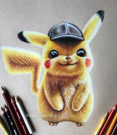 Top Paintings of the Week 15 - Graphic - Inspirations - Graphicroozane Cool Art Drawings, Realistic Drawings, Colorful Drawings, Art Drawings Sketches, Disney Drawings, Cartoon Drawings, Animal Drawings, Cartoon Art, Pikachu Pikachu