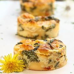 dandelion bread pudding with sundried tomatoes and gruyere cheese