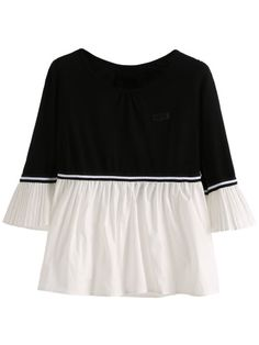 Black White Pleated Detail Blouse -SheIn(Sheinside) Mobile Site