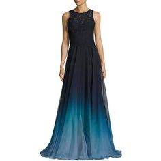 Theia Sleeveless Lace & Ombre Chiffon Gown ($895) ❤ liked on Polyvore featuring dresses, gowns, blue, chiffon dresses, blue dress, lace dress, lace evening dresses and a line gown