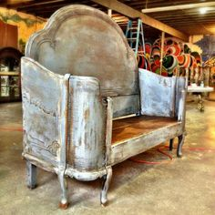 Amazing antique bed turned into a bench/daybed...gorgeous!