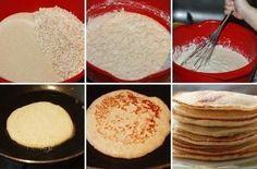 1 ст. овсяных хлопьев 1 ст. манной крупы 500 мл. кефира 3 яйца 2 ст. л. сахара 1/2 ч. л. соды 1/2 ч.л. соли 3 ст. л. растительного масла Смешиваем в миске манную крупу и овсяные хлопья. Заливаем их кефиром, перемешиваем и оставляем на 2 часа. Яйца взбиваем, добавляем в миску. Добавляем соль, сахар и соду. Вливаем масло, перемешиваем.