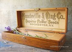 Your place to buy and sell all things handmade Store Counter, Counter Display, Antique Store Displays, King Company, Seed Catalogs, Antique Boxes, Seed Packets, Flower Seeds, Wood Boxes