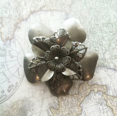 Silver Steampunk Flower Hair Clip. by NBetween on Etsy, $6.45