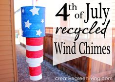 How to make Fourth of July wind chimes from recycled cans - perfect last minute project to make with kids.