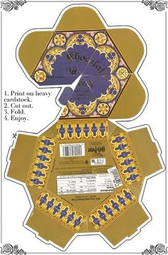 Harry Potter Party- Printable chocolate frog box. We could also get frog models and make our own chocolate frogs!