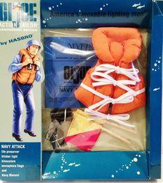 Includes Life Preserver, Blinker Light, Binoculars, Semaphore Flags and Naval Manual. Vintage Toys 1960s, 1970s Toys, Custom Capes, Fighting Robots, Nerd Cave, Life Preserver, Tin Toys, Gi Joe, Sailor