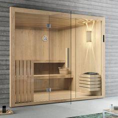 Elementsauna Tanne mit Glasfront 246 x 192 cm Sauna mit Glas inkl. Modern Saunas, Modern Pools, Sauna Steam Room, Sauna Room, Modern Bathroom Design, Bathroom Interior Design, Basement Sauna, Sauna Wellness, Piscina Spa