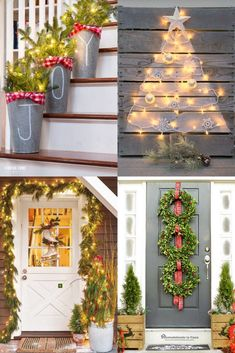 Christmas Lights Outside, Christmas Front Doors, Christmas House Lights, Christmas Porch, Christmas Manger, Silver Christmas, Diy Christmas Yard Decorations, Diy Yard Decor, Holiday Decor