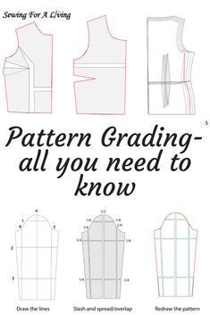 This post is about how to make a sewing pattern bigger or smaller, which is also known as pattern grading. We are going to go through different methods of pattern grading, how to do it and which one to chose. We are also going to touch on how to grade Techniques Couture, Sewing Techniques, Sewing Hacks, Sewing Tutorials, Sewing Tips, Pattern Drafting Tutorials, Dress Tutorials, Sewing Blogs, Sewing Patterns Free