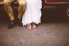 Bride not wearing shoes