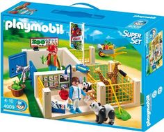 Playmobil Zoo Care Station Super Set by Playmobil. $24.56. CHOKING HAZARD - Small parts. Not for children under 3 yrs.. Recommended Age: 4 - 10 years. The Playmobil Zoo Care Station Superset includes 3 pens for looking after the animals and a clinic for treating the sick animals. The pens have lockable gates and come with a selection of plasters, bandages and food. The set includes 5 animals, 2 Playmobil vets and accessories. 4 Years +. Save 12% Off!
