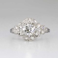 Striking Art Deco .85ct t.w. Old European Cut Diamond Engagement Ring Platinum | Antique & Estate Jewelry | Jewelry Finds