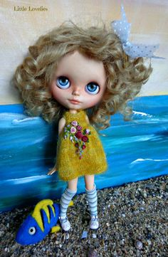 Blythe or Puillip Doll Yellow mohair dress with vintage rose feature and french…