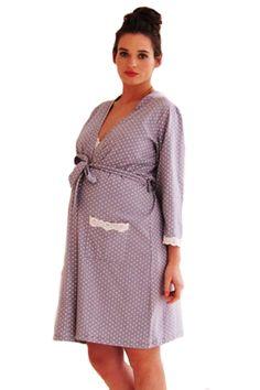 Belabumbum Dottie Lace Trim Maternity And Nursing Robe | Maternity Clothes www.duematernity.com