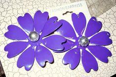 FREE SHIP Pretty NEW Large Purple Flower Earrings Pierced Metal Daisy #Unbranded #DropDangle