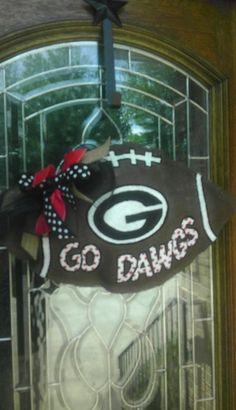 Georgia Bulldogs burlap door hanger