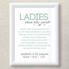 Wedding Bathroom Basket Sign   bathroom basket sign, both genders, rustic, PRINTABLE