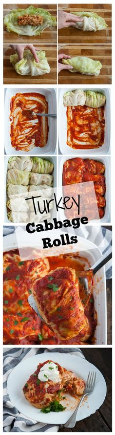 Sauce covered turkey cabbage rolls are delicious, filling, light, and healthy with over 17 grams of protein in each 240 calorie roll - Feasting Not Fasting (Leftover Cabbage Recipes) Paleo Recipes, New Recipes, Cooking Recipes, Recipies, Healthy Cooking, Healthy Eating, Healthy Food, Turkey Dishes, Turkey Meals