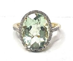 Oval Green Quartz Ring Checkerboard Facet Diamonds Statement Size: 7.25 GV92781 #Unbranded #Cocktail #Anniversary