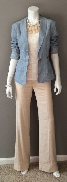 Daily Look: CAbi Spring '15 Everly Pant, Lace Tee & Beach Walk Blazer with a cool statement necklace from Anthropologie.  Nude pumps would be perfect with this, but I don't  have any. :0( #CAbiClothing #springfashion