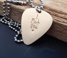 Anniversary idea. Guitar pick necklace hand stamped bronze pick I by CMKreations