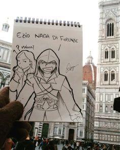 Ezio Naga di Firenze! Minha cabeça explodiu depois de ver pessoalmente cenários que eu só via no game. >>> Curta a página/like it >> www.danilonaga.com #italy #florence #firenze #instatravel #naga #illustration #draw #drawing #assassinscreed #ezio #games #renascença #rebirth #duomo #ac2 #ubisoft #duomodifirenze #duasmalaspelomundo #trip #trave