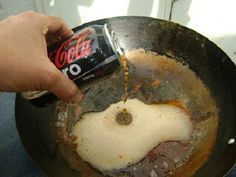 Coca-Cola can be awfully refreshing but so can some of the ingenious uses for the caramel-colored favorite. There are many uses for Coca-Cola. Cleaning Cast Iron Pans, Cleaning Pans, Kitchen Cleaning, Kitchen Hacks, How To Clean Rust, How To Remove Rust, Cleaning With Coke, Clean Pots, Coca Cola Can