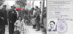"""Львов погром 1941 В другой сцене уличных издевательств над женщинами в кадр  попал еще один оуновский """"милиционер"""" - Михайло Печарский"""