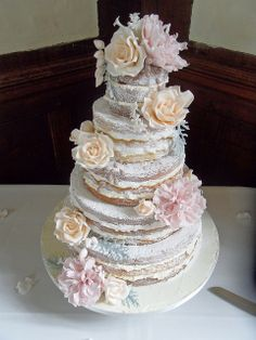 Naked Wedding Cake. by Dulcie Blue Bakery, via Flickr