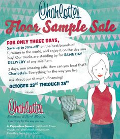 3 days, up to 70% off, and same day delivery - it doesn't get much better than that! Stop by 10/23-10/25 to shop your favorite brands at the sale of the season!  http://www.charlottesfurniture.com/   #shoplocal #ItsAllGoodEP