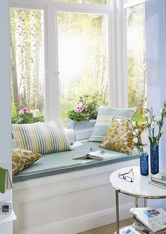 Pretty Reading Nook In Soft Blue White And Gold Michelle Hawkins Window Seats