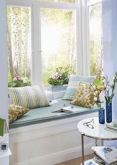 Coastal window seat and reading nook