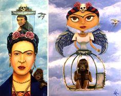 """Joyas de Frida"" & ""Frida's Chango Loco"" oil paintings by Armando Padilla.Purchase the originals here: http://chimmayaart.com"