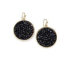 ABS by Allen Schwartz Jewelry Black Crystal Disc Earrings found on Polyvore