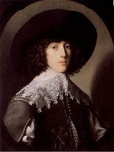 The Young Prince Rupert    painted by Gerrit van Honthorst in 1635 in a fine doublet and falling band.