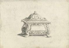 Kistje met deksel en ringen aan de zijkant, Hendrik van der Borcht (de Jonge), Giulio Romano, Anonymous, c. 1614 - 1654