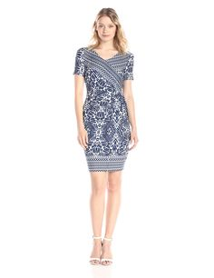 NYDJ Women's Maricella Aztec Wrap Dress, Washed Indigo, 6. Features a fun boho-chic print. Flattering faux-wrap bodice and tie on the side, short sleeve.